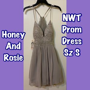 NWT Prom Dress Junior Light Gray Honey & Rosie szS